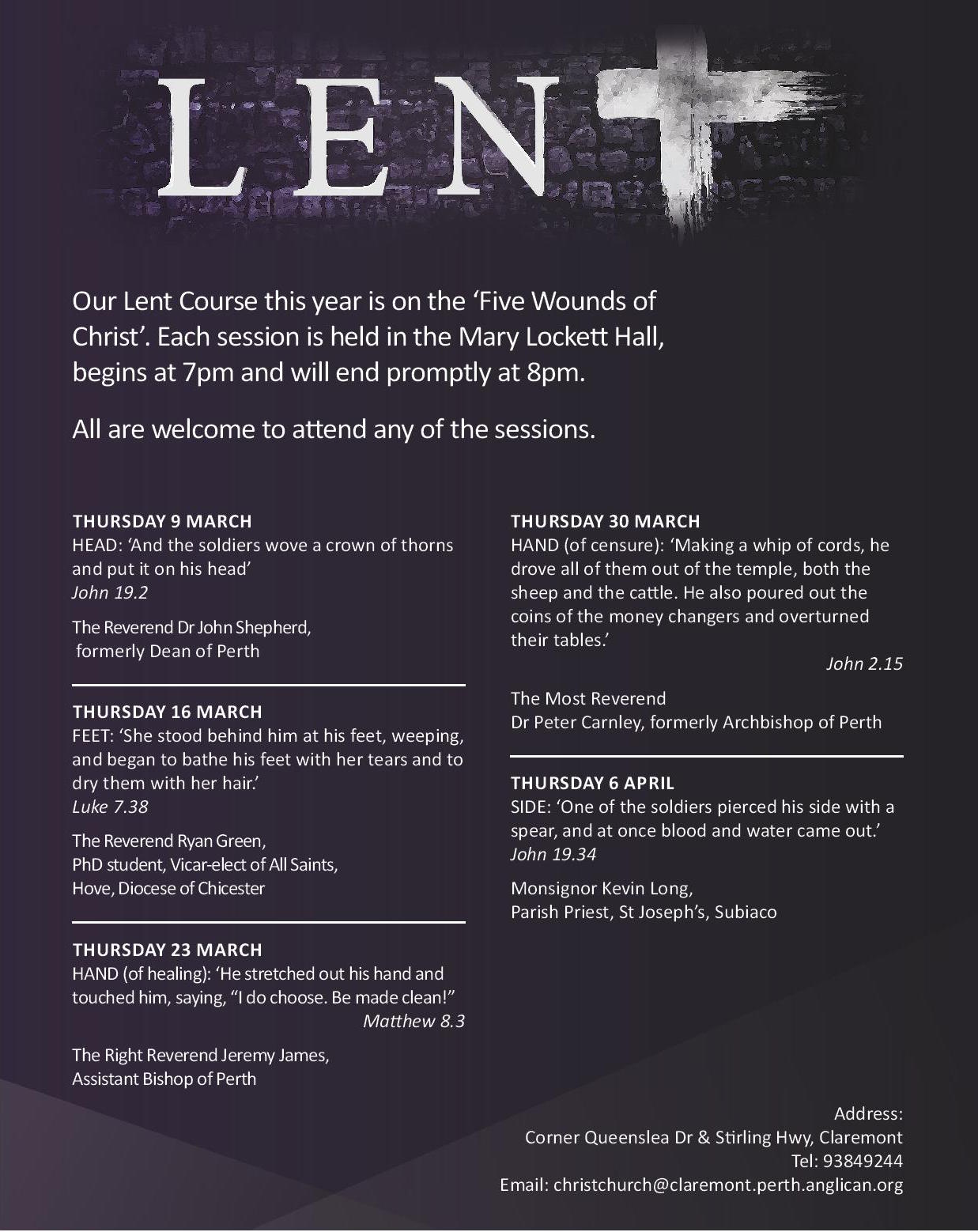 Lent Course at Christ Church Claremont